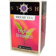 Stash Tea, Чай высшего сорта без кофеина, English Breakfast, 18 чайных пакетиков, 1,2 унции (36 г)