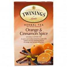 Twinings, Чай из трав, со вкусом апельсина и корицы, без кофеина, 20 отдельных пакетиков, 40 г