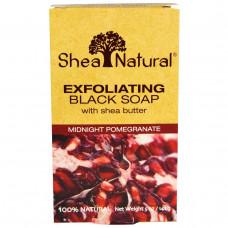 Shea Natural, Отшелушивающее черное мыло с маслом ши, полночный гранат, 5 унций (141 г)