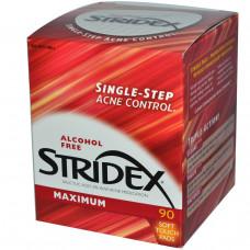 Stridex, Средство от угрей, максимальная сила, без спирта, 90 салфеток эффективная бережная очистка кожи
