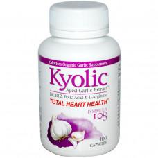 Wakunaga - Kyolic, Пищевая добавка Совершенно здоровое сердце, формула 108, 100 капсул
