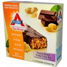 Atkins, Day Break, Хрустящий батончик с Арахисовым Маслом, 5 батончиков, 1.2 унций (35 г) каждый
