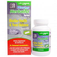 Bell Lifestyle, Серия Master Herbalist, Здоровье мочевого пузыря и дрожжевой баланс, 60 капсул