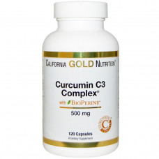 California Gold Nutrition, Комплекс с куркумином C3, 500 мг, 120 капсул в растительной оболочке