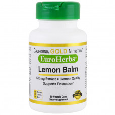 California Gold Nutrition, EuroHerbs, Мелисса Лимонная XT 500 mg,VC MB, 60 карат