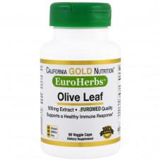 California Gold Nutrition, EuroHerbs, Оливковые листья XT 500 mg, VC EM, 60 карат