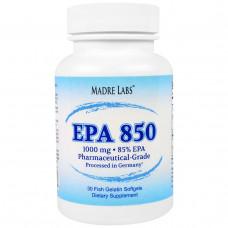Madre Labs, EPA 850, сверхконцентрированный рыбий жир класса премиум, не содержит ГМО, не содержит глютена, 1000 мг, 30 капсул из рыбьего желатина